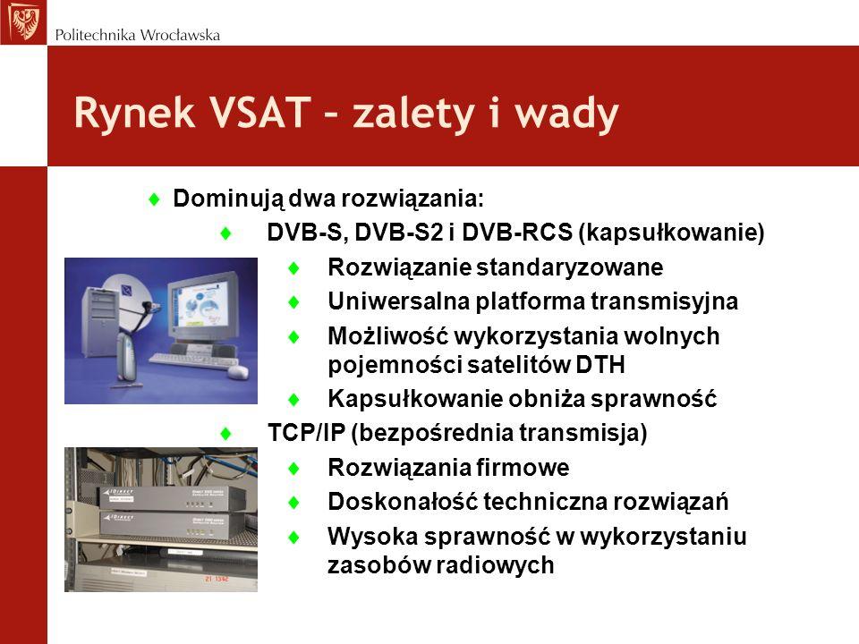 Rynek VSAT – zalety i wady Dominują dwa rozwiązania: DVB-S, DVB-S2 i DVB-RCS (kapsułkowanie) Rozwiązanie standaryzowane Uniwersalna platforma transmis