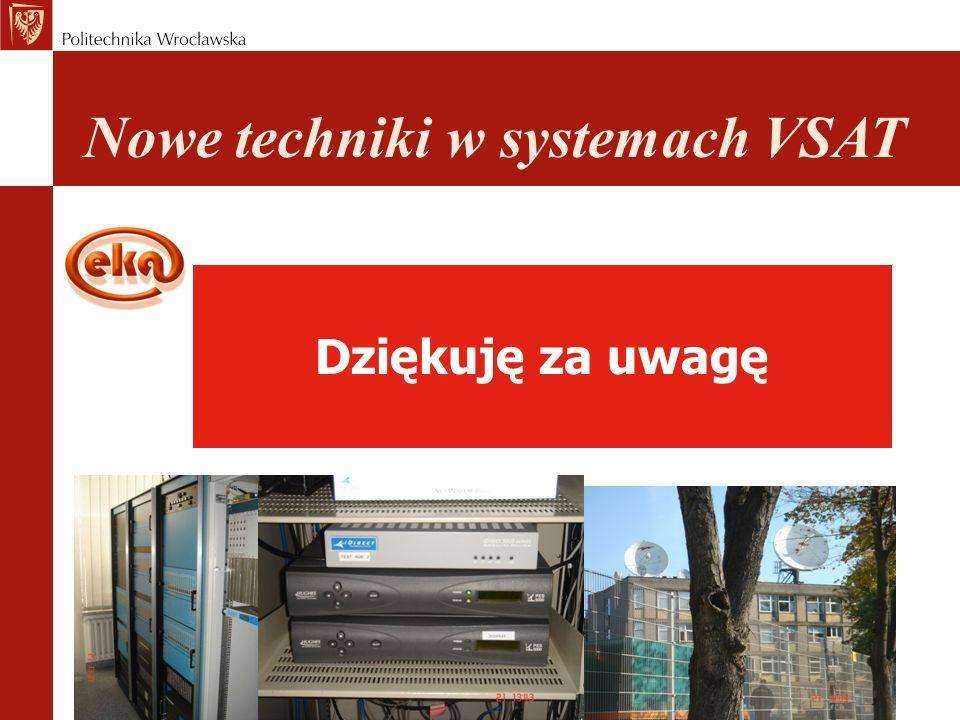 Dziękuję za uwagę Nowe techniki w systemach VSAT