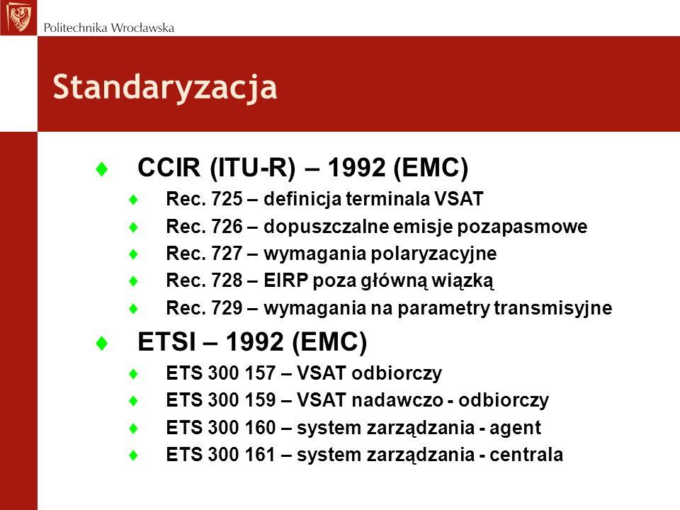 Standaryzacja CCIR (ITU-R) – 1992 (EMC) Rec. 725 – definicja terminala VSAT Rec. 726 – dopuszczalne emisje pozapasmowe Rec. 727 – wymagania polaryzacy
