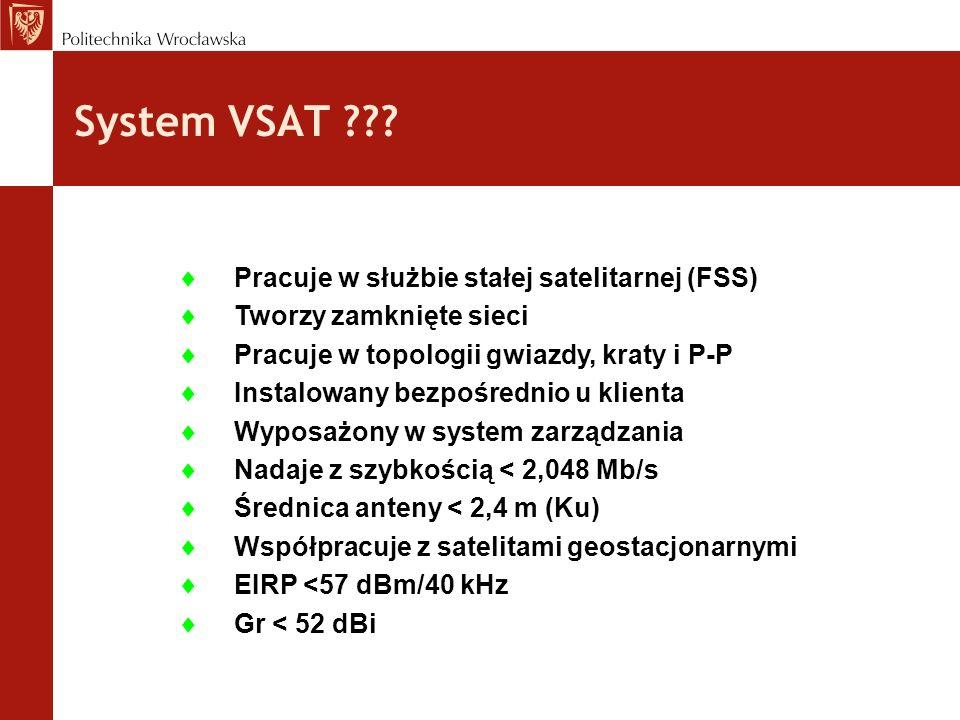 System VSAT ??? Pracuje w służbie stałej satelitarnej (FSS) Tworzy zamknięte sieci Pracuje w topologii gwiazdy, kraty i P-P Instalowany bezpośrednio u