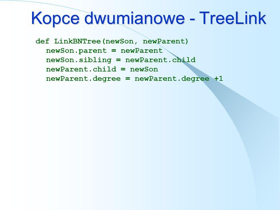 Kopce dwumianowe - TreeLink def LinkBNTree(newSon, newParent) newSon.parent = newParent newSon.sibling = newParent.child newParent.child = newSon newP