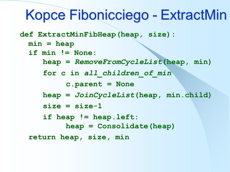 Kopce Fibonicciego - ExtractMin def ExtractMinFibHeap(heap, size): min = heap if min != None: heap = RemoveFromCycleList(heap, min) for c in all_child