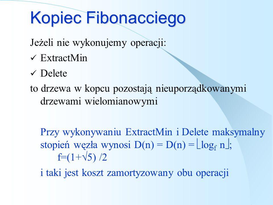 Kopiec Fibonacciego Jeżeli nie wykonujemy operacji: ExtractMin Delete to drzewa w kopcu pozostają nieuporządkowanymi drzewami wielomianowymi Przy wyko