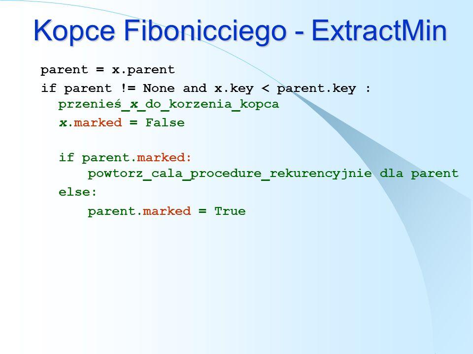 Kopce Fibonicciego - ExtractMin parent = x.parent if parent != None and x.key < parent.key : przenieś_x_do_korzenia_kopca x.marked = False if parent.m