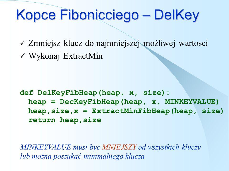 Kopce Fibonicciego – DelKey Zmniejsz klucz do najmniejszej możliwej wartosci Wykonaj ExtractMin def DelKeyFibHeap(heap, x, size): heap = DecKeyFibHeap