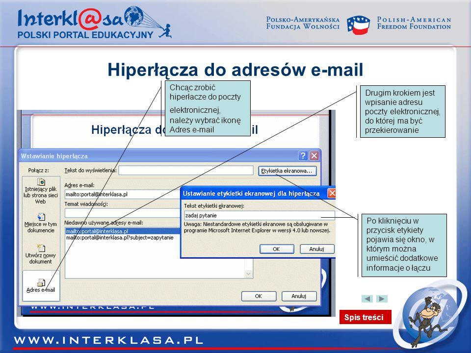 Spis treści Hiperłącza do adresów e-mail Chcąc zrobić hiperłacze do poczty elektronicznej, należy wybrać ikonę Adres e-mail Drugim krokiem jest wpisan