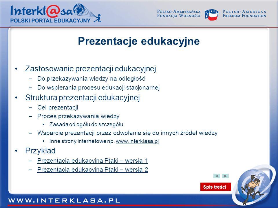 Spis treści Prezentacje edukacyjne Zastosowanie prezentacji edukacyjnej –Do przekazywania wiedzy na odległość –Do wspierania procesu edukacji stacjona