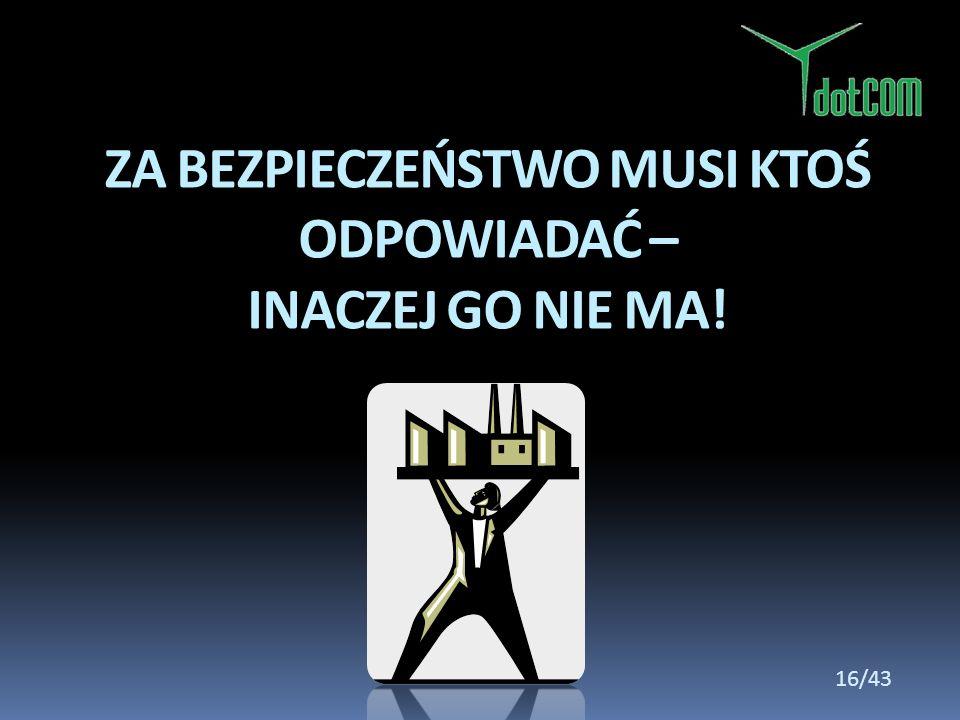 ZA BEZPIECZEŃSTWO MUSI KTOŚ ODPOWIADAĆ – INACZEJ GO NIE MA! 16/43