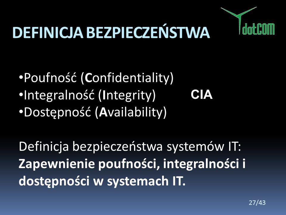 Poufność (Confidentiality) Integralność (Integrity) Dostępność (Availability) Definicja bezpieczeństwa systemów IT: Zapewnienie poufności, integralnoś