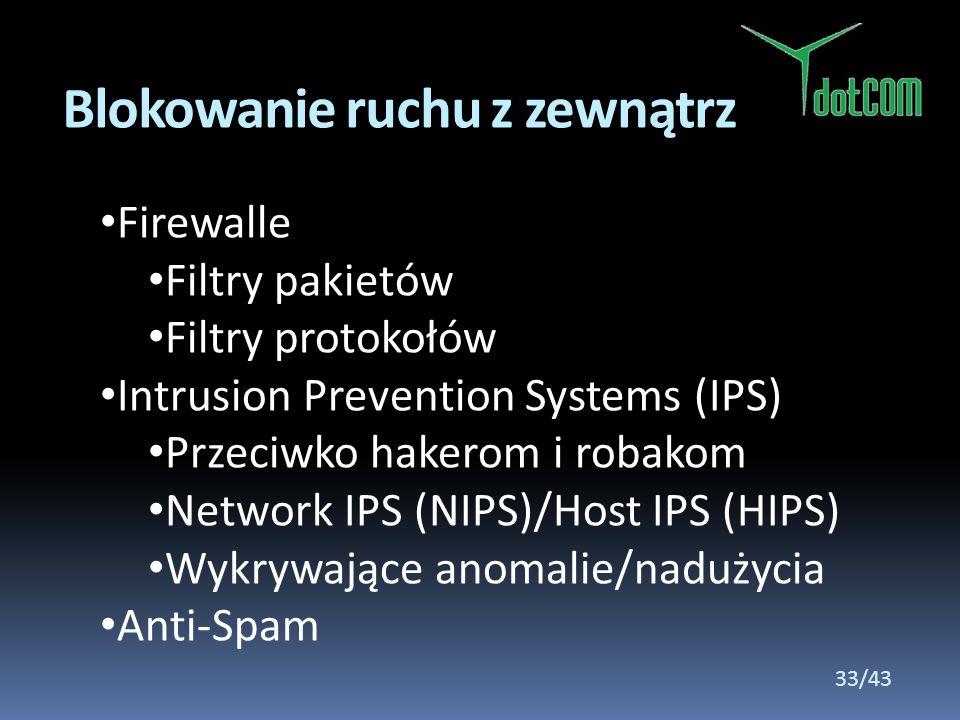 Firewalle Filtry pakietów Filtry protokołów Intrusion Prevention Systems (IPS) Przeciwko hakerom i robakom Network IPS (NIPS)/Host IPS (HIPS) Wykrywaj
