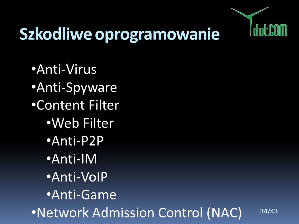 Anti-Virus Anti-Spyware Content Filter Web Filter Anti-P2P Anti-IM Anti-VoIP Anti-Game Network Admission Control (NAC) Szkodliwe oprogramowanie 34/43