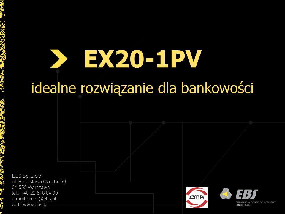 EX20-1PV Zastosowanie w bankowości Urządzenie EX20-1PV to podstawowy element systemu kontroli dostępu z transmisją GPRS/SMS i Ethernet stworzonego specjalnie na potrzeby najbardziej wymagających odbiorców jakimi są banki.