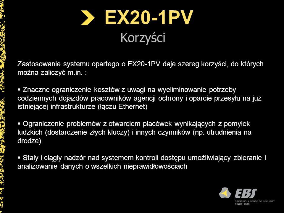 EX20-1PV Korzyści Zastosowanie systemu opartego o EX20-1PV daje szereg korzyści, do których można zaliczyć m.in. : Znaczne ograniczenie kosztów z uwag
