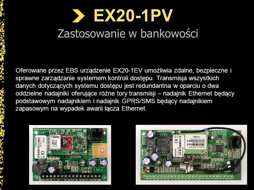 EX20-1PV Zastosowanie w bankowości Standardowe otwarcie drzwi z użyciem tego systemu polega na wpisaniu dwóch różnych kodów przez dwóch różnych użytkowników (pracowników banku).