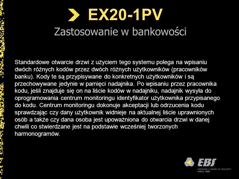 EX20-1PV Zastosowanie w bankowości Standardowe otwarcie drzwi z użyciem tego systemu polega na wpisaniu dwóch różnych kodów przez dwóch różnych użytko