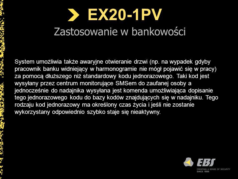 EX20-1PV Zastosowanie w bankowości System umożliwia także awaryjne otwieranie drzwi (np. na wypadek gdyby pracownik banku widniejący w harmonogramie n