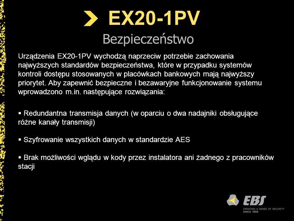 EX20-1PV Bezpieczeństwo Kodów standardowych służących do otwierania nie można zmienić z poziomu centrum monitoringu ani przez użytkowników Wydawanie komend dotyczących kontroli dostępu (tzw.
