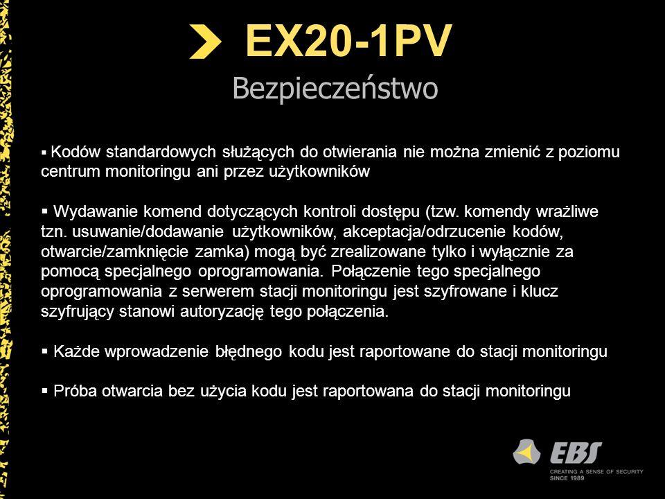 EX20-1PV Bezpieczeństwo Kodów standardowych służących do otwierania nie można zmienić z poziomu centrum monitoringu ani przez użytkowników Wydawanie k