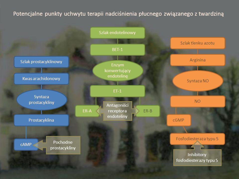 Szlak prostacyklinowy Kwas arachidonowy Prostacyklina cAMP Syntaza prostacykliny Szlak endotelinowy BET-1 ET-1 ER-A Enzym konwertujący endotelinę ER-B Antagoniści receptora endoteliny Szlak tlenku azotu Arginina NO cGMP Syntaza NO Potencjalne punkty uchwytu terapii nadciśnienia płucnego związanego z twardziną Fosfodiesteraza typu 5 Inhibitory fosfodiesterazy typu 5 Pochodne prostacykliny