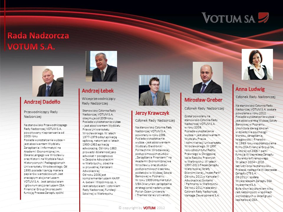 Stanowisko Członka Rady Nadzorczej VOTUM S.A.