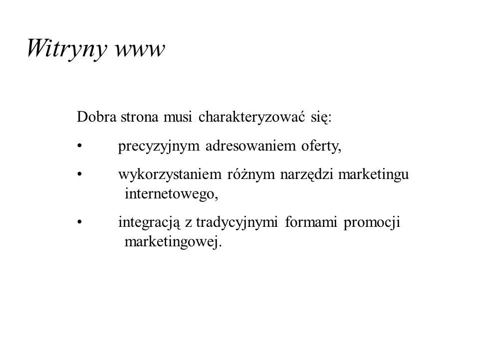 Witryny www Dobra strona musi charakteryzować się: precyzyjnym adresowaniem oferty, wykorzystaniem różnym narzędzi marketingu internetowego, integracją z tradycyjnymi formami promocji marketingowej.