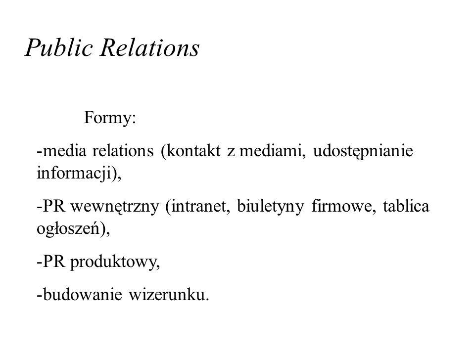 Public Relations Formy: -media relations (kontakt z mediami, udostępnianie informacji), -PR wewnętrzny (intranet, biuletyny firmowe, tablica ogłoszeń), -PR produktowy, -budowanie wizerunku.