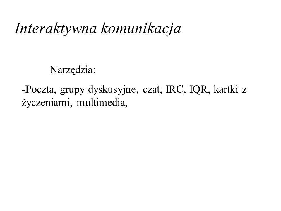 Interaktywna komunikacja Narzędzia: -Poczta, grupy dyskusyjne, czat, IRC, IQR, kartki z życzeniami, multimedia,
