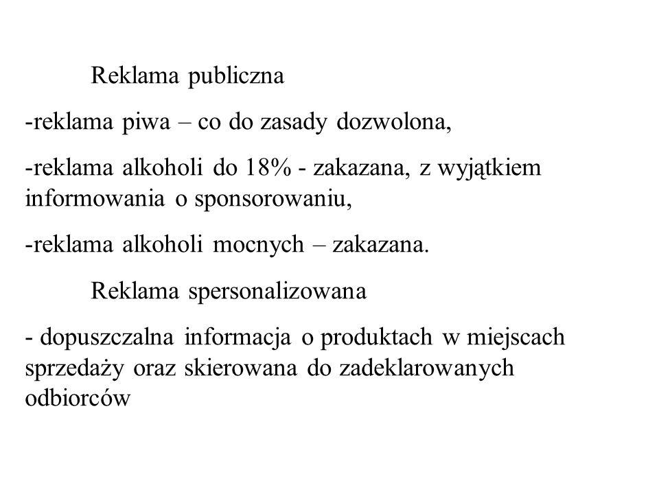 Reklama publiczna -reklama piwa – co do zasady dozwolona, -reklama alkoholi do 18% - zakazana, z wyjątkiem informowania o sponsorowaniu, -reklama alko