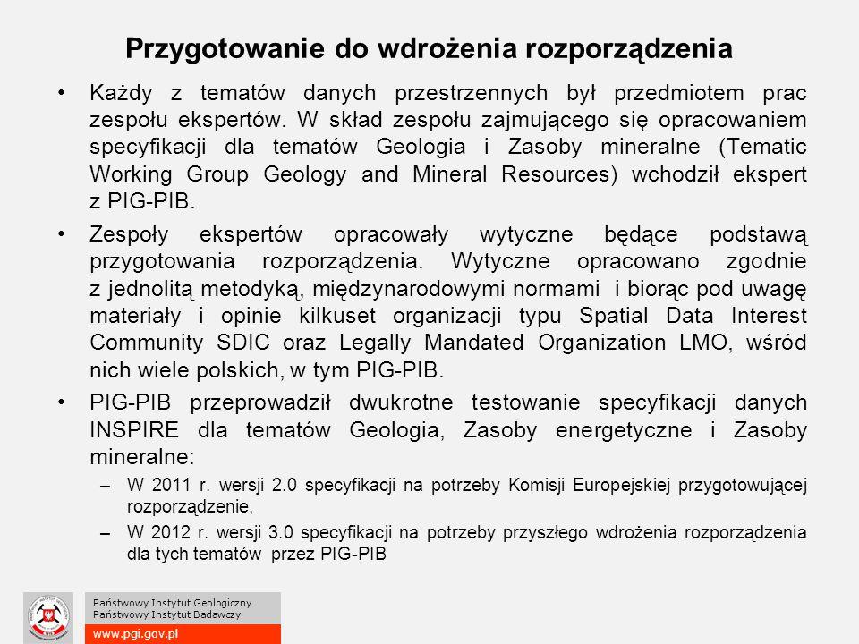 www.pgi.gov.pl Państwowy Instytut Geologiczny Państwowy Instytut Badawczy Przygotowanie do wdrożenia rozporządzenia Każdy z tematów danych przestrzennych był przedmiotem prac zespołu ekspertów.