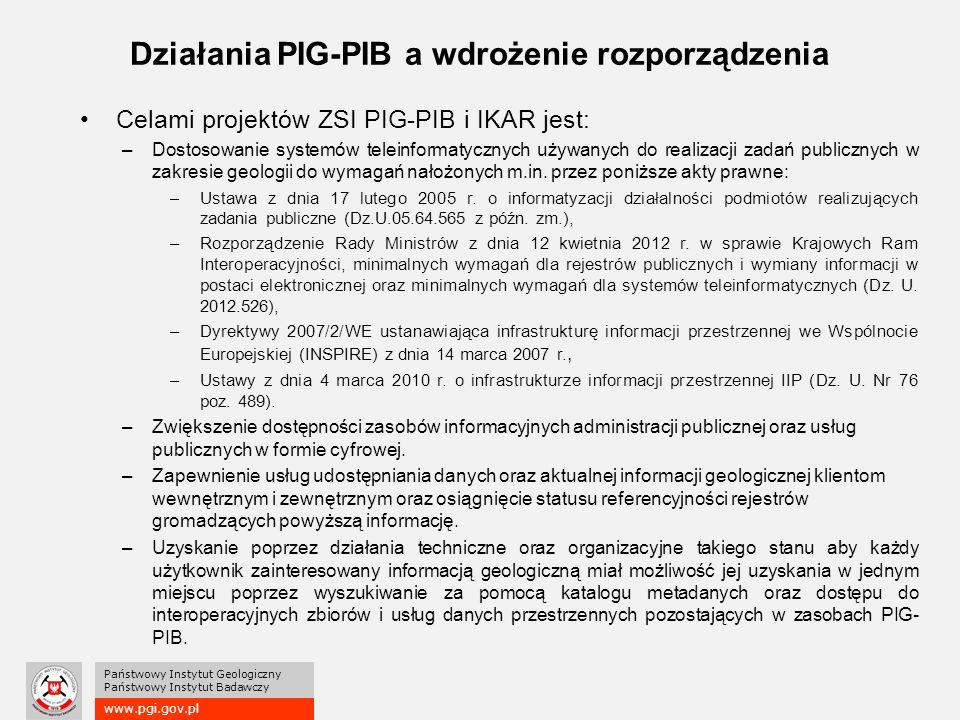 www.pgi.gov.pl Państwowy Instytut Geologiczny Państwowy Instytut Badawczy Działania PIG-PIB a wdrożenie rozporządzenia Celami projektów ZSI PIG-PIB i IKAR jest: –Dostosowanie systemów teleinformatycznych używanych do realizacji zadań publicznych w zakresie geologii do wymagań nałożonych m.in.