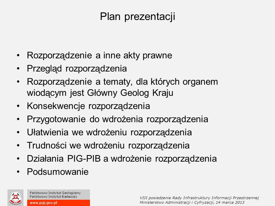 www.pgi.gov.pl Państwowy Instytut Geologiczny Państwowy Instytut Badawczy Plan prezentacji Rozporządzenie a inne akty prawne Przegląd rozporządzenia Rozporządzenie a tematy, dla których organem wiodącym jest Główny Geolog Kraju Konsekwencje rozporządzenia Przygotowanie do wdrożenia rozporządzenia Ułatwienia we wdrożeniu rozporządzenia Trudności we wdrożeniu rozporządzenia Działania PIG-PIB a wdrożenie rozporządzenia Podsumowanie VIII posiedzenie Rady Infrastruktury Informacji Przestrzennej Ministerstwo Administracji i Cyfryzacji, 14 marca 2013