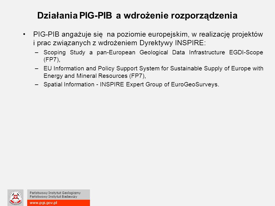 www.pgi.gov.pl Państwowy Instytut Geologiczny Państwowy Instytut Badawczy Działania PIG-PIB a wdrożenie rozporządzenia PIG-PIB angażuje się na poziomie europejskim, w realizację projektów i prac związanych z wdrożeniem Dyrektywy INSPIRE: –Scoping Study a pan-European Geological Data Infrastructure EGDI-Scope (FP7), –EU Information and Policy Support System for Sustainable Supply of Europe with Energy and Mineral Resources (FP7), –Spatial Information - INSPIRE Expert Group of EuroGeoSurveys.