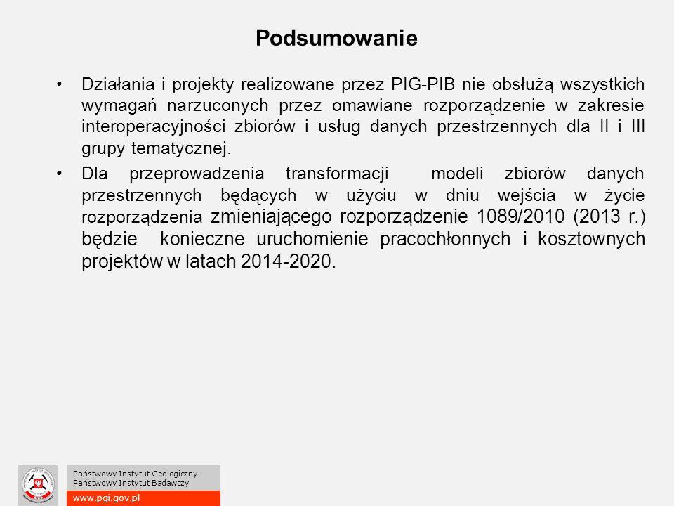 www.pgi.gov.pl Państwowy Instytut Geologiczny Państwowy Instytut Badawczy Podsumowanie Działania i projekty realizowane przez PIG-PIB nie obsłużą wszystkich wymagań narzuconych przez omawiane rozporządzenie w zakresie interoperacyjności zbiorów i usług danych przestrzennych dla II i III grupy tematycznej.