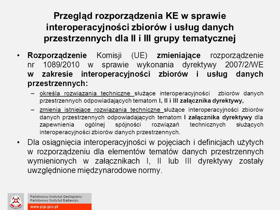 www.pgi.gov.pl Państwowy Instytut Geologiczny Państwowy Instytut Badawczy Przegląd rozporządzenia KE w sprawie interoperacyjności zbiorów i usług danych przestrzennych dla II i III grupy tematycznej Rozporządzenie Komisji (UE) zmieniające rozporządzenie nr 1089/2010 w sprawie wykonania dyrektywy 2007/2/WE w zakresie interoperacyjności zbiorów i usług danych przestrzennych: –określa rozwiązania techniczne służące interoperacyjności zbiorów danych przestrzennych odpowiadających tematom I, II i III załącznika dyrektywy, –zmienia istniejące rozwiązania techniczne służące interoperacyjności zbiorów danych przestrzennych odpowiadających tematom I załącznika dyrektywy dla zapewnienia ogólnej spójności rozwiązań technicznych służących interoperacyjności zbiorów danych przestrzennych.