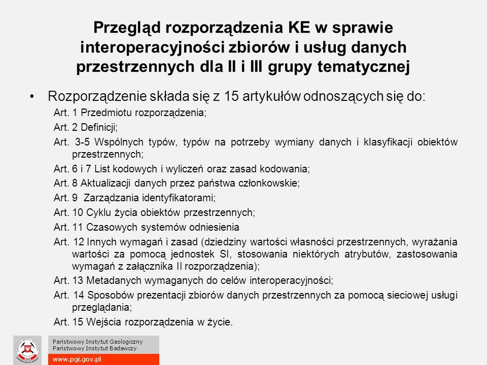 www.pgi.gov.pl Państwowy Instytut Geologiczny Państwowy Instytut Badawczy Przegląd rozporządzenia KE w sprawie interoperacyjności zbiorów i usług danych przestrzennych dla II i III grupy tematycznej Rozporządzenie składa się z 15 artykułów odnoszących się do: Art.