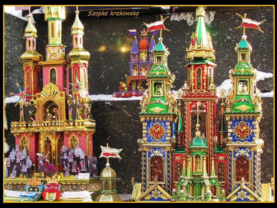 Szopki krakowskie to bogato zdobione, wielowieżowe sceny o architekturze nawiązującej do zabytków Krakowa, przedstawiające misterium Bożego Narodzenia