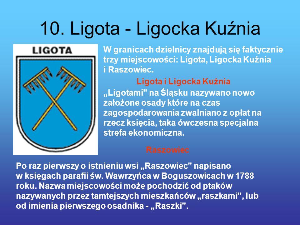 10. Ligota - Ligocka Kuźnia W granicach dzielnicy znajdują się faktycznie trzy miejscowości: Ligota, Ligocka Kuźnia i Raszowiec. Ligotami na Śląsku na