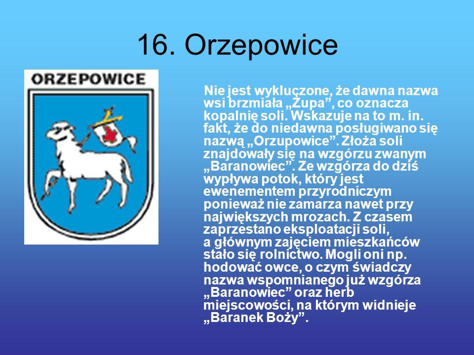 16.Orzepowice Nie jest wykluczone, że dawna nazwa wsi brzmiała Żupa, co oznacza kopalnię soli.