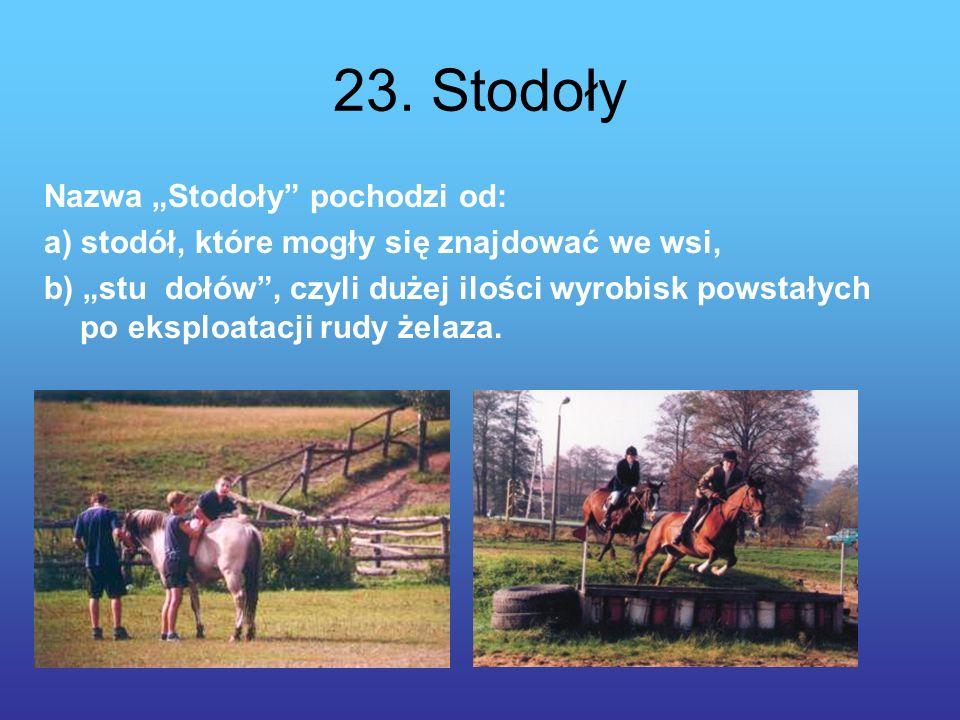 23. Stodoły Nazwa Stodoły pochodzi od: a) stodół, które mogły się znajdować we wsi, b) stu dołów, czyli dużej ilości wyrobisk powstałych po eksploatac