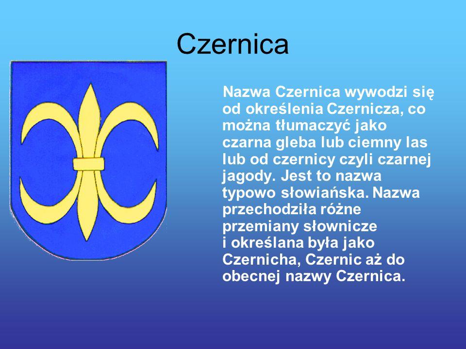 Czernica Nazwa Czernica wywodzi się od określenia Czernicza, co można tłumaczyć jako czarna gleba lub ciemny las lub od czernicy czyli czarnej jagody.
