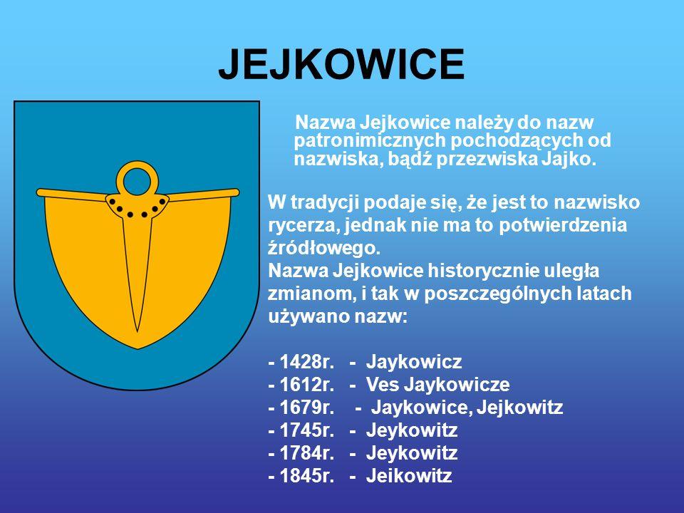 JEJKOWICE Nazwa Jejkowice należy do nazw patronimicznych pochodzących od nazwiska, bądź przezwiska Jajko.