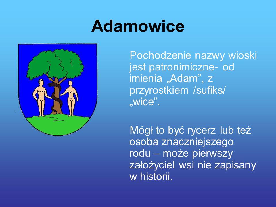 Adamowice Pochodzenie nazwy wioski jest patronimiczne- od imienia Adam, z przyrostkiem /sufiks/ wice.