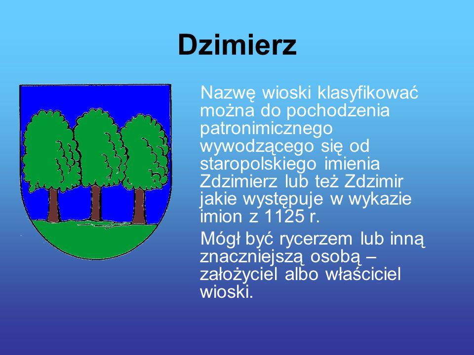 Dzimierz Nazwę wioski klasyfikować można do pochodzenia patronimicznego wywodzącego się od staropolskiego imienia Zdzimierz lub też Zdzimir jakie występuje w wykazie imion z 1125 r.