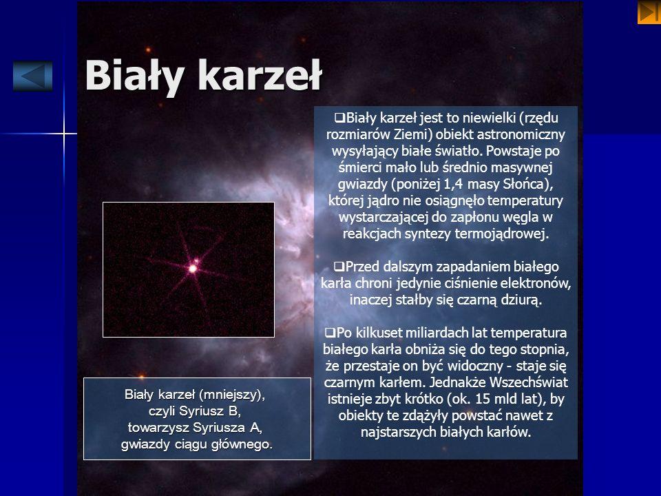 Biały karzeł Biały karzeł jest to niewielki (rzędu rozmiarów Ziemi) obiekt astronomiczny wysyłający białe światło. Powstaje po śmierci mało lub średni