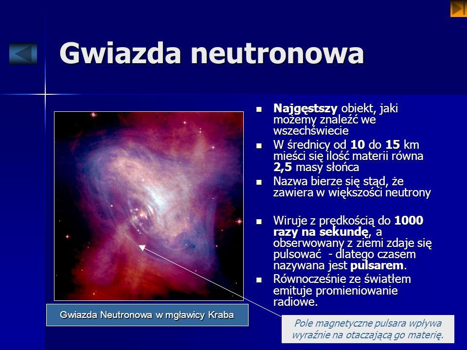 Gwiazda neutronowa Najgęstszy obiekt, jaki możemy znaleźć we wszechświecie Najgęstszy obiekt, jaki możemy znaleźć we wszechświecie W średnicy od 10 do