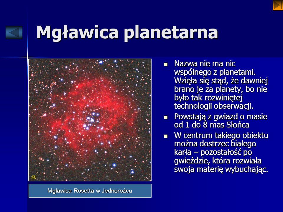 Mgławica planetarna Nazwa nie ma nic wspólnego z planetami. Wzięła się stąd, że dawniej brano je za planety, bo nie było tak rozwiniętej technologii o