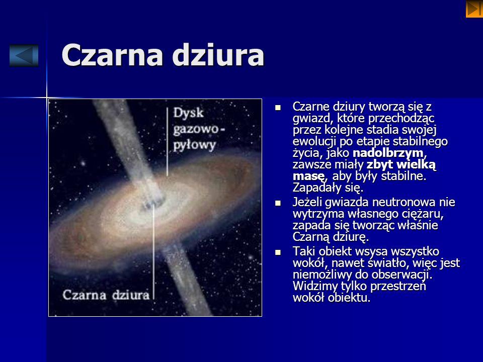 Czarna dziura Czarne dziury tworzą się z gwiazd, które przechodząc przez kolejne stadia swojej ewolucji po etapie stabilnego życia, jako nadolbrzym, z