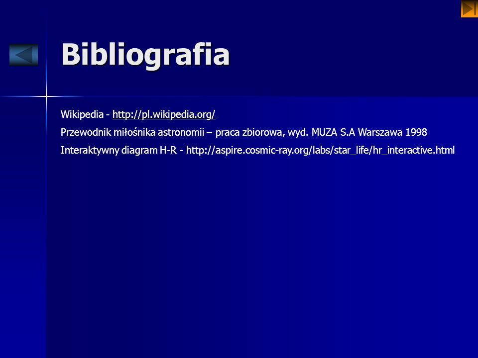 Bibliografia Wikipedia - http://pl.wikipedia.org/http://pl.wikipedia.org/ Przewodnik miłośnika astronomii – praca zbiorowa, wyd. MUZA S.A Warszawa 199
