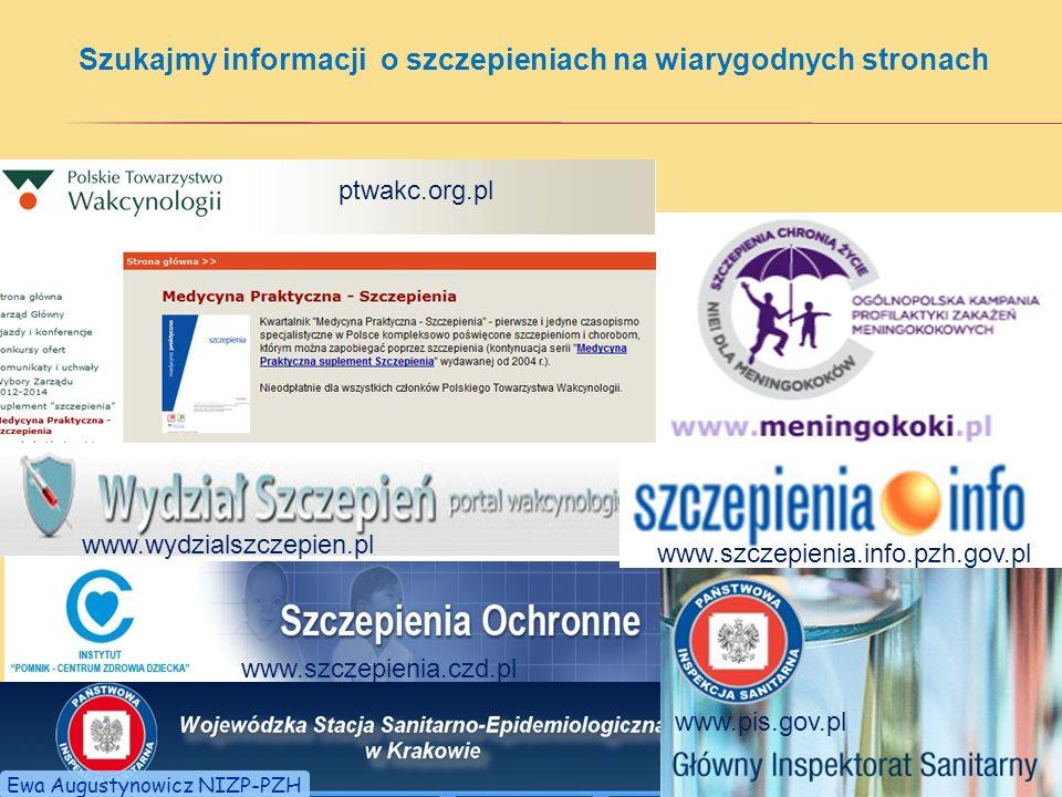 Szukajmy informacji o szczepieniach na wiarygodnych stronach ptwakc.org.pl www.szczepienia.info.pzh.gov.pl www.szczepienia.czd.pl www.wydzialszczepien.pl www.pis.gov.pl www.szczepienia.info.pzh.gov.pl Ewa Augustynowicz NIZP-PZH
