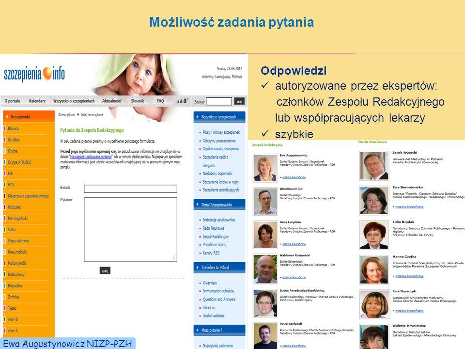Możliwość zadania pytania Odpowiedzi autoryzowane przez ekspertów: członków Zespołu Redakcyjnego lub współpracujących lekarzy szybkie Ewa Augustynowicz NIZP-PZH